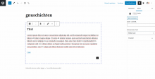 Bildschirmfoto Wordpress Gutenberg Block